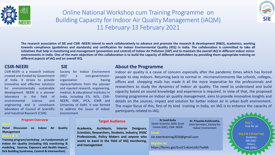 Online SIE- NEERI  National Workshop on Building Capacity for Indoor Air Quality Management (IAQM)