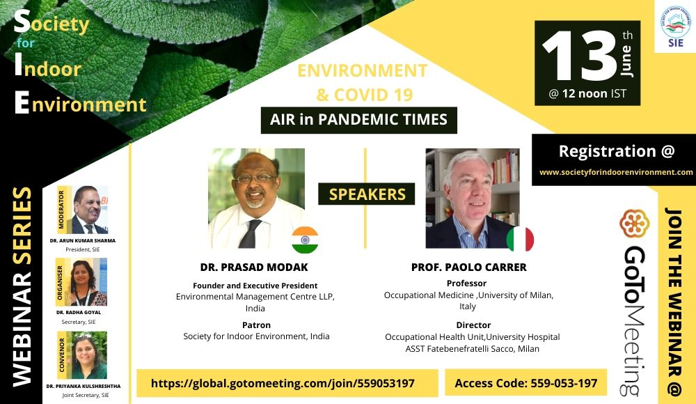 "SIE Webinar Series ""Environment and Covid-19- Air in pandemic times"""